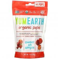 Леденцы с разными фруктовыми вкусами, Pops, YumEarth, органик, 14 шт, 85 г