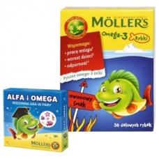 Mollers Omega-3 рыбки + игра, фруктовый вкус, 36 шт